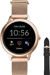 Fossil Femme Montre Connectée 5ème Génération E avec Haut-Parleur, Fréquence Cardiaque, GPS, NFC et Alertes pour Smartphon...