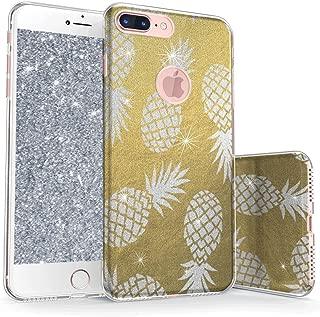 真正的彩色手机壳可与 iPhone 7 Plus 闪光手机壳,闪光闪闪发光菠萝三层混合胶壳带防震 TPU 外壳 - 金银色