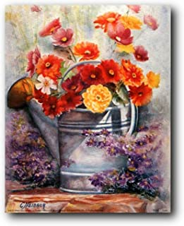 Water Can with Flowers Still Life Fine Wall Decor Art Print Poster (16x20)