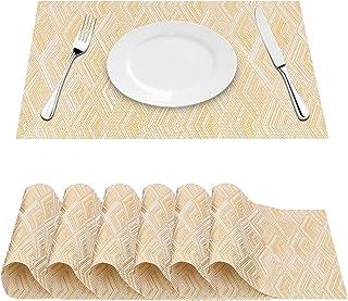 FYY Lot de 6 Sets de Tables, Napperons pour Table à Manger, Tapis de Table en PVC lavables et résistants à la Chaleur Tapi...