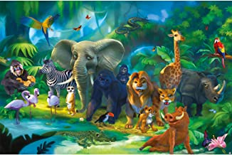 Mural – Jungle Animals Wallpaper – Safari Mural Children Room Poster Wild Animal Adventure Art Colorful Kids Design Wilderness Decor Wallpaper (82.7 x 55 Inch / 210 x 140 cm)