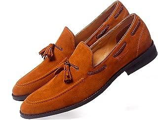 NICHE Men's Tassel Loafer Tan Suede Formal Casual Shoes