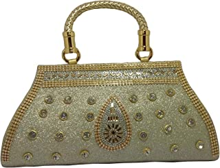 fandu collection Clutch Box Traditional Indian,on Velvet Fabric (Colour silver) Women