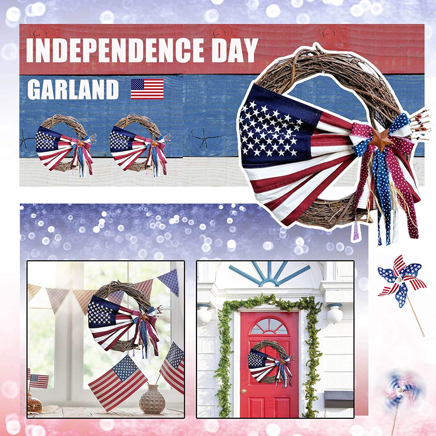 Patriotic Independence Wreaths for Front Door,July 4th Independence Day Wreath,Veterans Day Decor,Handcrafted Hanging Wreaths for Home Wall Decor Front Door Decorations Outside