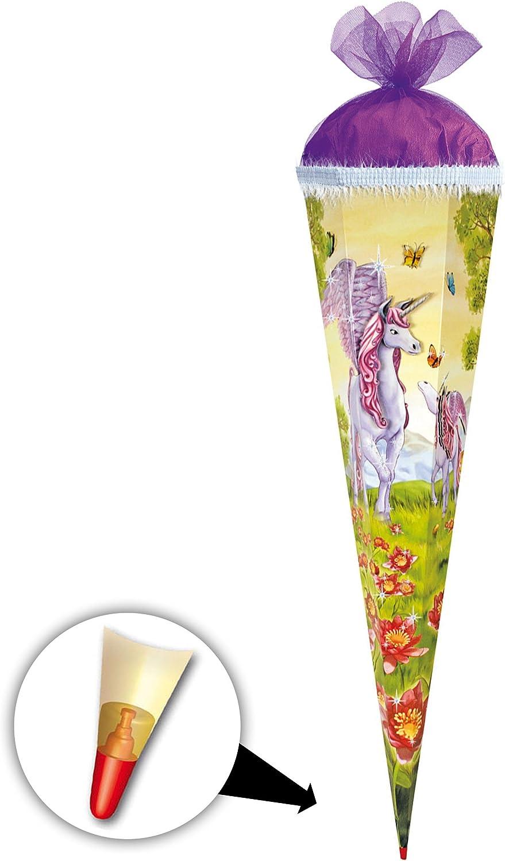 Alles-meine  GmbH 10 Stück _ Schultüten -  Einhorn Einhorn Einhorn - Pegasus   Pferd Unicorn  - 50 cm - rund - mit Tüllabschluß - Zuckertüte - mit   ohne Holzspitze - Roth - Mädchen - Pferde.. B07DVQK99P | Qualität Produkt  dba09e