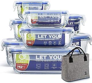 [8 عبوات + خالية من حقيبة الغداء] حاويات زجاجية مع أغطية لتخزين الطعام محكمة الغلق - حاويات طعام زجاجية - خالية من البيسفي...