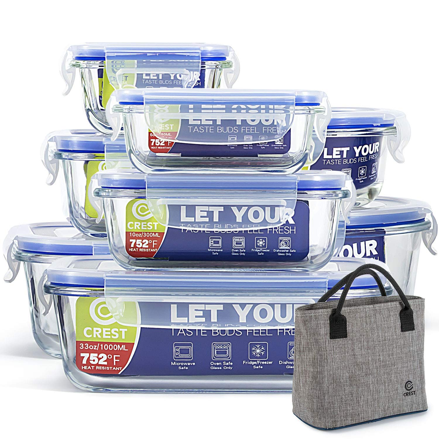 8 Pack Lunch Containers Storage Airtight