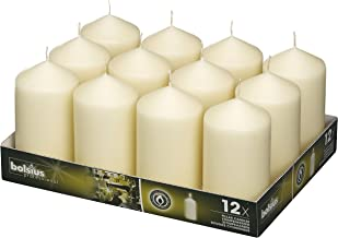 BOLSIUS Set of 12 Ivory Pillar Candles - 40 Long Burning Hours Candle Set - 5-inch x 2.75-inch Dripless Candle - Perfect for Wedding Candles, Parties and Special Occasions
