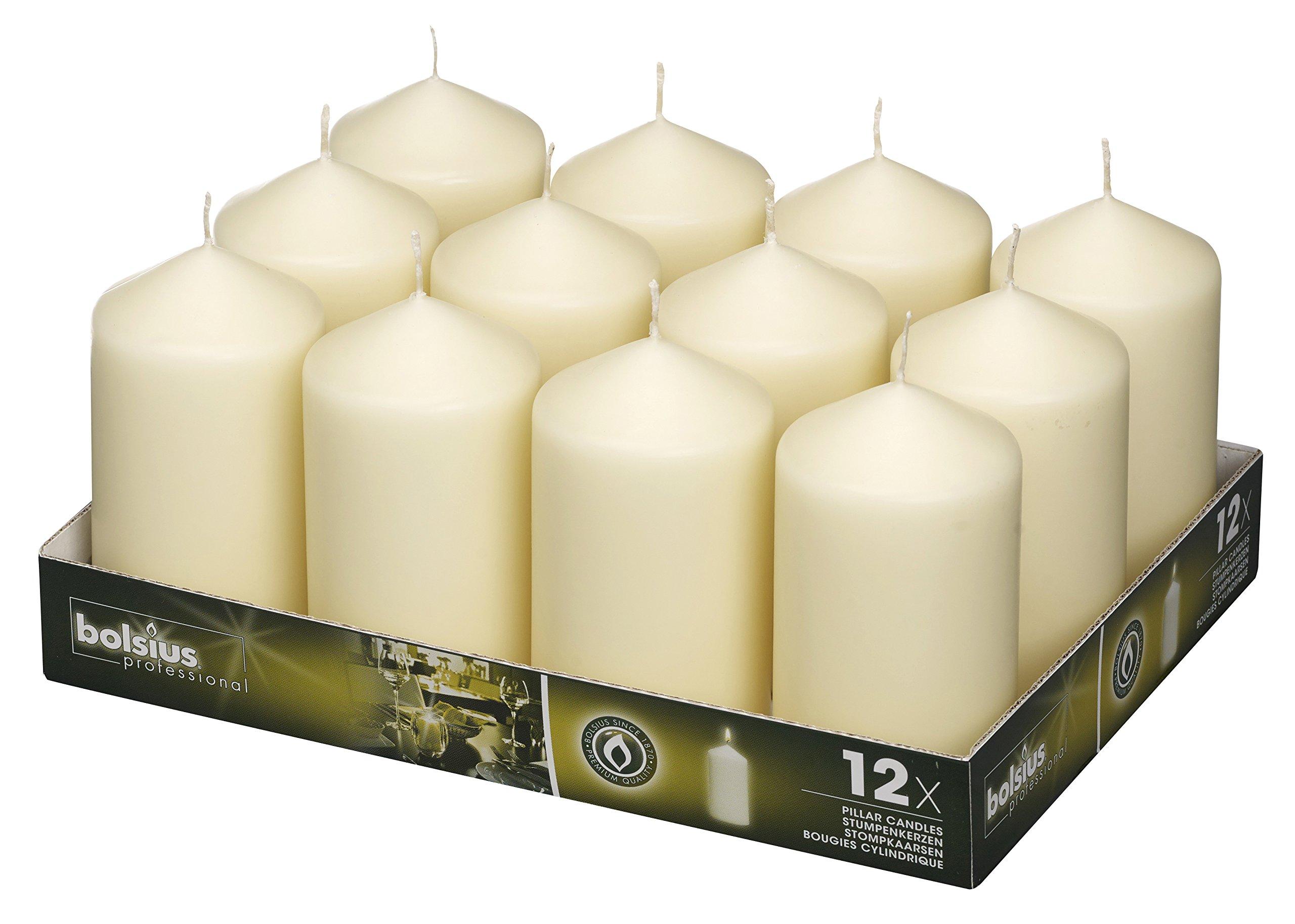 BOLSIUS Wedding Pillar Candles Ivory