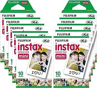 Fujifilm Instax Mini Brillo - Pack de 100 películas fotográficas instantáneas (10 x 10 hojas) color blanco