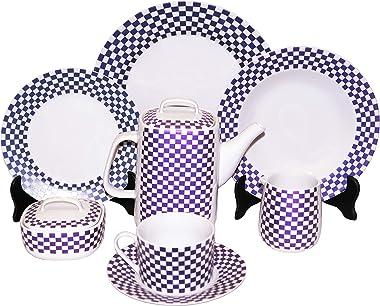 Inhesion 1530-676 Vajilla de Porcelana de 47 Piezas Purple Checkers