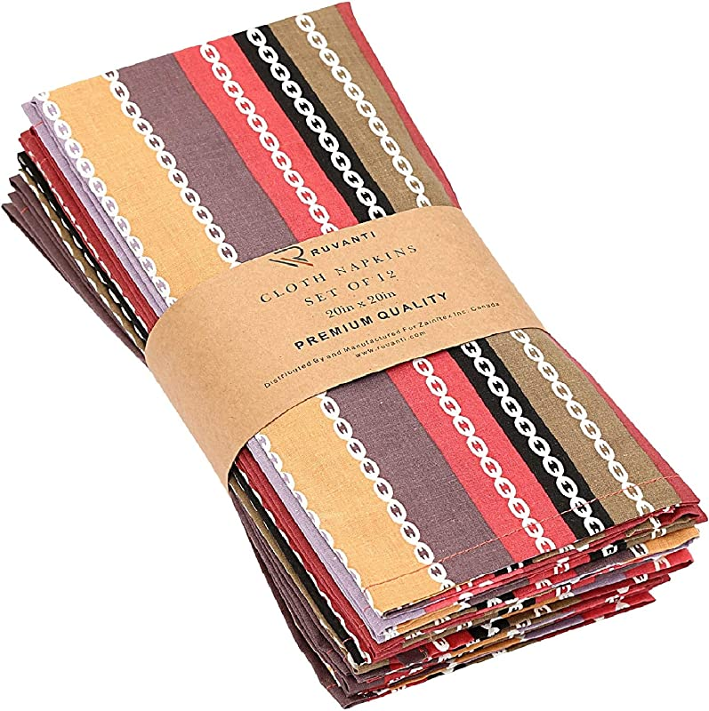Ruvanti Cloth Napkins 12 Pack 100 Cotton 20 X20 Dinner Napkins Soft Comfortable Cotton Napkins Red Salsa Stripe Colorful Linen Napkins For Family Dinners Weddings Cocktail Parties Home Use