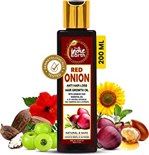 THE INDIE EARTH RED ONION ANTI HAIR LOSS & HAIR GROWTH OIL WITH PURE ARGAN, JOJOBA, ROSEMARY, BLACK SEED OIL IN PUREST FOR...