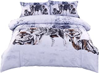 Ammybeddings 3D Grey Wolf Duvet Cover Sets,Soft and Luxury Animal Bedding,1 Flat Sheet,1 Comforter Cover and 2 Pillow Shams Included  (Queen Size, No Comforter)