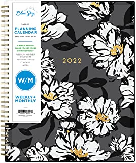 """Sponsored Ad - Blue Sky 2022 Weekly & Monthly Planner, 8.5"""" x 11"""", Flexible Cover, Wirebound, Baccara Dark (110211-22)"""