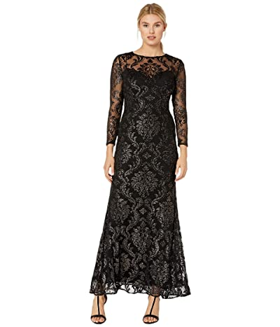 Adrianna Papell Burnout Emblem Gown (Black/Bronze) Women