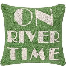 Peking Handicraft on River Time Hook Pillow, 16 by 16-Inch, Green