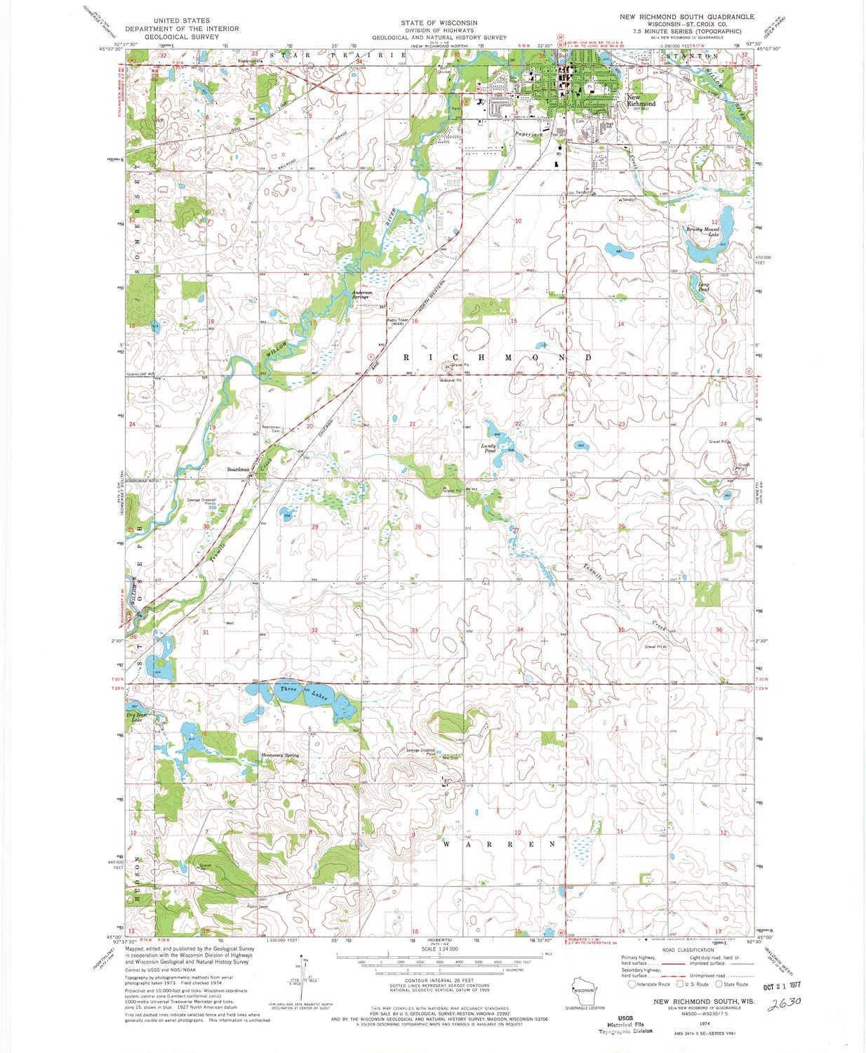 YellowMaps New Richmond 35% OFF South WI topo X 1:24000 Sale item 7.5 Scale map