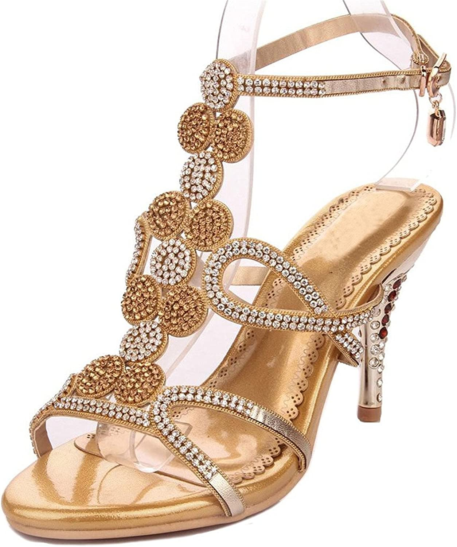 Garyline Crystal Studs Strappy Evening High Heel Rhinestone Ankle Strap Wedding Sandals
