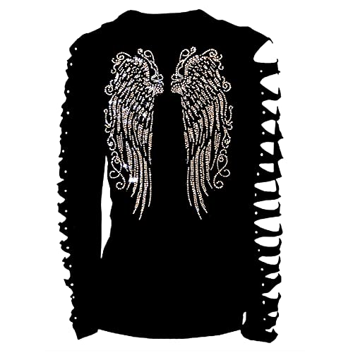 c99b595f2d669 Fashion2ne1 Long Angel Wings Bling Bling Rhinestones T-Shirt Ripped Cut Out  Long