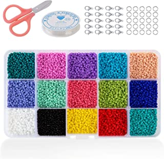 Phogary 15000pcs Glass Seed Beads, Mixed Colors Small Pony Beads Assorted Kit Opaque Colors Lustered Loose Spacer Beads, 2mm Round, Hole 0.6mm for Jewelry Making, DIY Crafting (15 Colors)