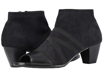 Trotters Maris (Black Soft Nappa Leather/Stretch Textile) Women