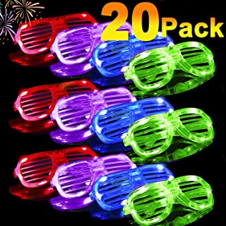 20 Pack Light Up Glasses 2020 Glow in The Dark Party Shades 5 Color Led Party Glasses Shutter Shades for Adults Kids LED Neon Sunglasses Neon Party Supplies Rave Night Games Party Favors