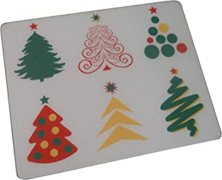 """Vance 81512HD2 Vance 15 x 12"""" Christmas Trees Surface Saver Tempered Glass Cutting Board"""