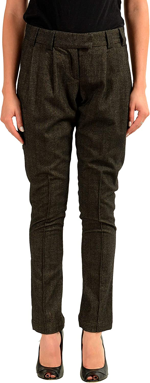 Just Cavalli Women's Brown Pleated Casual Pants US 4 IT 40