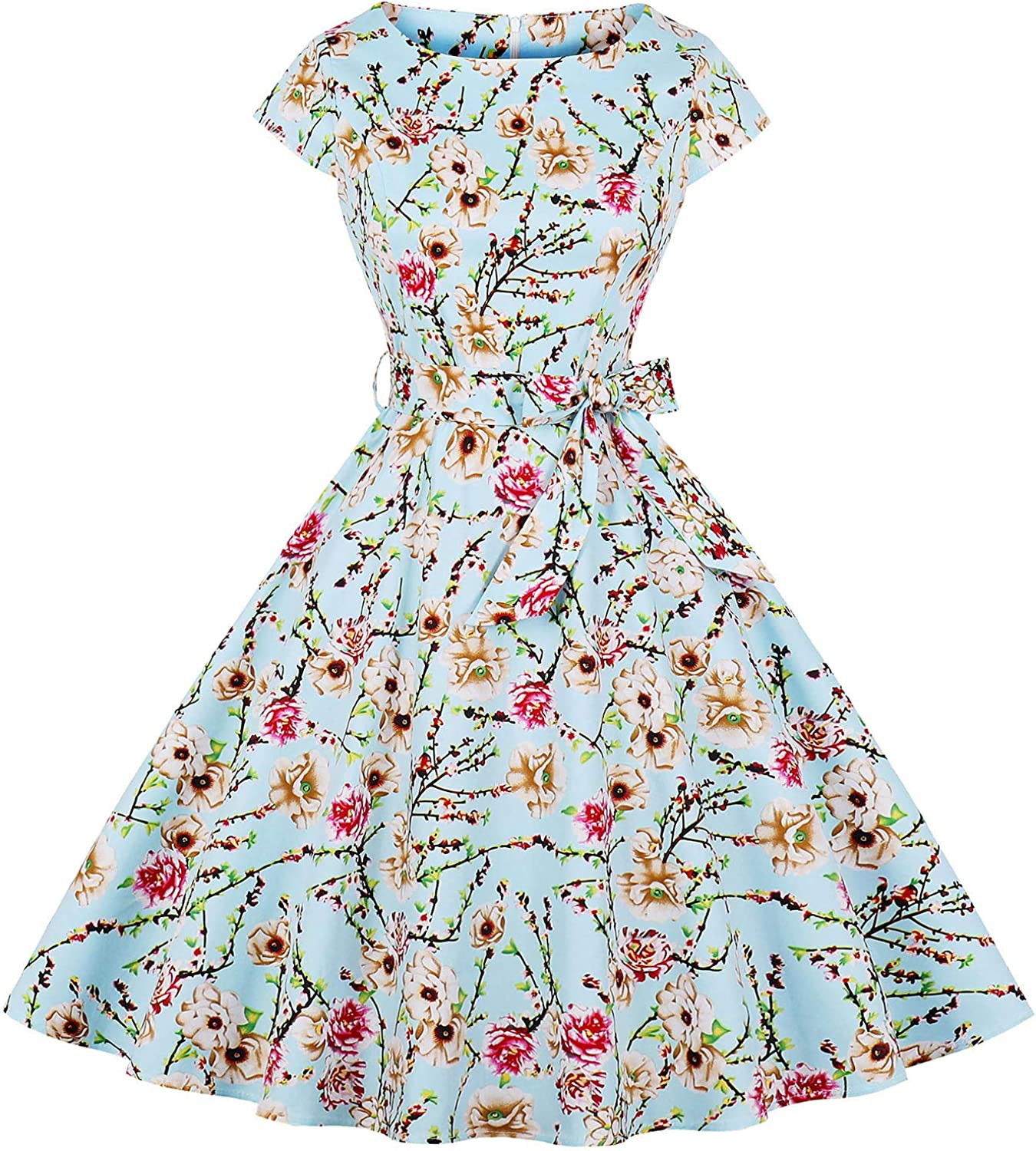 GALSANG Womens Vintage 1950s Cap Sleeve Swing Dress Floral Print aLine Party Cocktail Dress Dr04