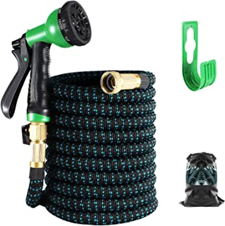 """Expandable Garden Hose 50FT, Water Collapsible Hose with 8 Function Spray Nozzle, Durable 3-Layers Latex Core with 3/4"""" So..."""