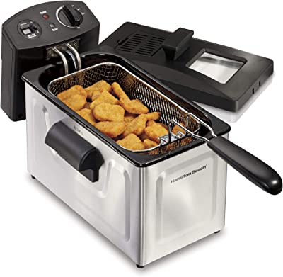 Hamilton Beach Professional Grade Electric Deep Fryer, Frying Basket with Hooks, 1500 Watts, 3 Ltrs with Viewing Window, Stainless Steel