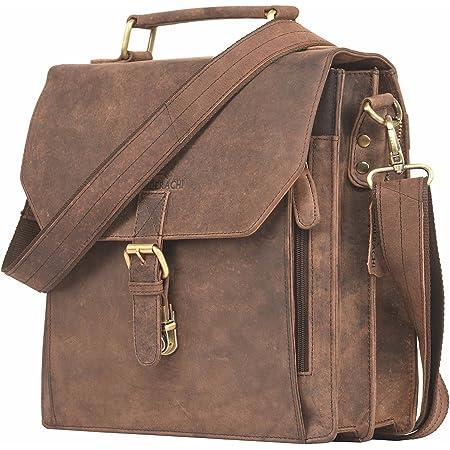 LEADERACHI Hunter Leather Laptop Briefcase Bag [Caserta-Muskat]