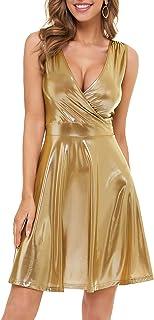 MSBASIC Women Party Dress Sleeveless Glitter Loose Swing Aline Dress