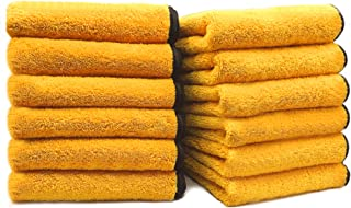 SoLiD 12 Pack Multipurpose Plush Microfiber Edgeless Cleaning Towel for Household and Car Washing, Drying, Detailing