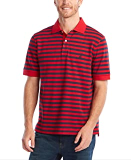 Men's Classic Fit 100% Cotton Soft Short Sleeve Stripe Polo Shirt
