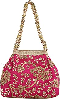 Kuber Industries Polyester Embroidered Woman Potli Bag, Pink (CTKTC4388)