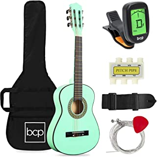 Best Choice Products 30in Kids Acoustic Guitar Beginner Starter Kit with Electric Tuner, Strap, Case, Strings - SoCal Green