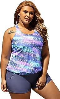 Women's Stripes Print Blouson Tankini Set Two Piece Swimsuit