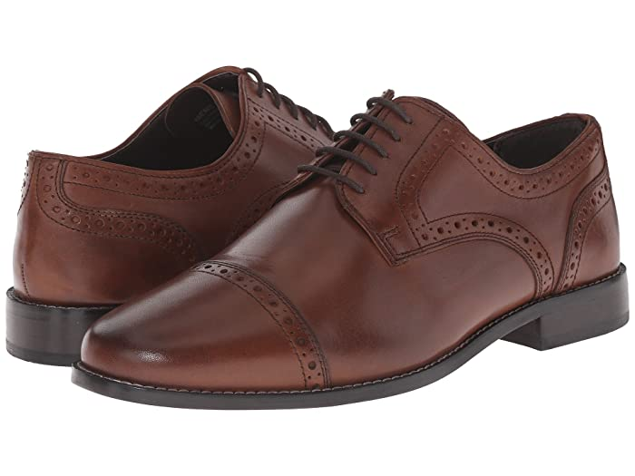 1920s Style Mens Shoes | Peaky Blinders Boots Nunn Bush Norcross Cap Toe Dress Casual Oxford Brown Mens Lace Up Cap Toe Shoes $69.95 AT vintagedancer.com