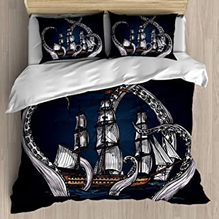 FEIDANNO Pirate Ship Duvet Cover Set Twin Size,The Pirate Ship Encounters an Octopus,Decorative 3 Piece Bedding Set with 2 Pillow Shams (Multi 33, Twin/Twin XL)
