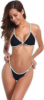SHEKINI Damen Bikini Set Triangel BH Bikini Rückenfrei Bademode Push Up High Cut Einlagen Oberteil Mit Schwarz Bikinihosen Brazilian Style XS-XL