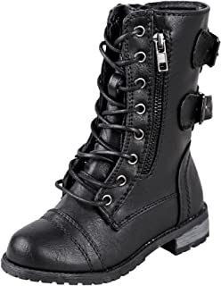 Forever Link Girls Mango 61K Lace Up Boots | Combat Boots for Girls | Zipper Boots | Toddler Girl Shoes | Little Girl Shoes
