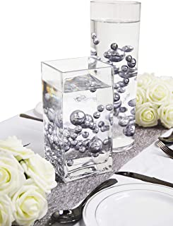 Evershine Floating Vase Filler Pearl - No Hole Assorted Size Pearl with Transparent Water Gel Beads. (Silver)
