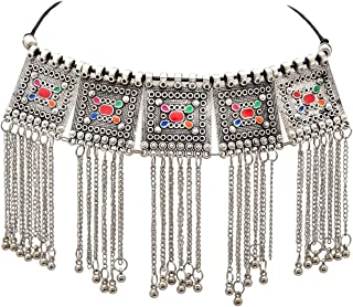 Zephyrr Boho Afghani/Turkish Choker Necklace Silver Tone Casual Daily Wear w/Tassel Tribal Statement Jewelry for Women JA...