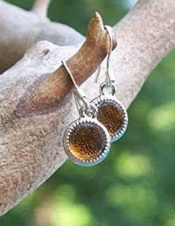 Recycled Vintage Amber Clorox Bottle Glass Color Dot Earrings