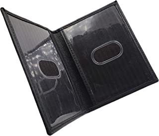 Mens Genuine Leather Double ID Licence Bifold Wallet (Black)