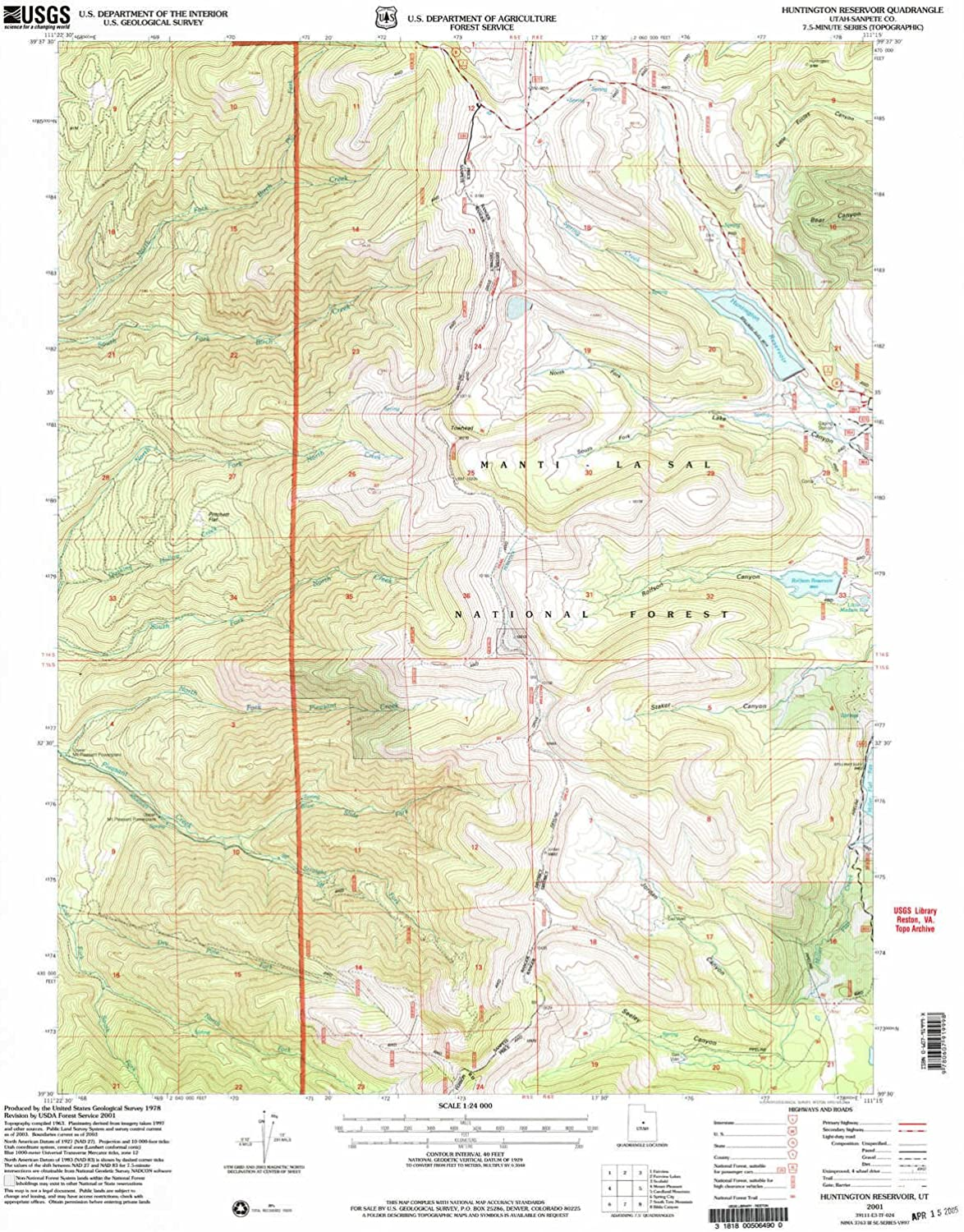 Huntington Reservoir UT topo map, 1 24000 Scale, 7.5 X 7.5 Minute, Historical, 2001, Updated 2004, 26.5 x 21.9 in