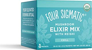 Four Sigmatic Reishi Mushroom Elixir, Organic Reishi Mushroom Powder with Tulsi & Mint, Support Stress & Sleep, Decaf, Pac...