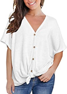a032cdff9de2a MIHOLL Womens Loose Blouse Short Sleeve V Neck Button Down T Shirts Tie  Front Knot Casual